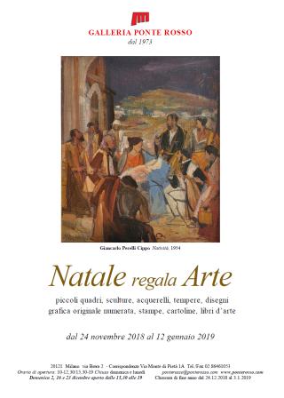 Locandina Natale regala Arte 2018 Galleria Ponte Rosso, Brera, Milano