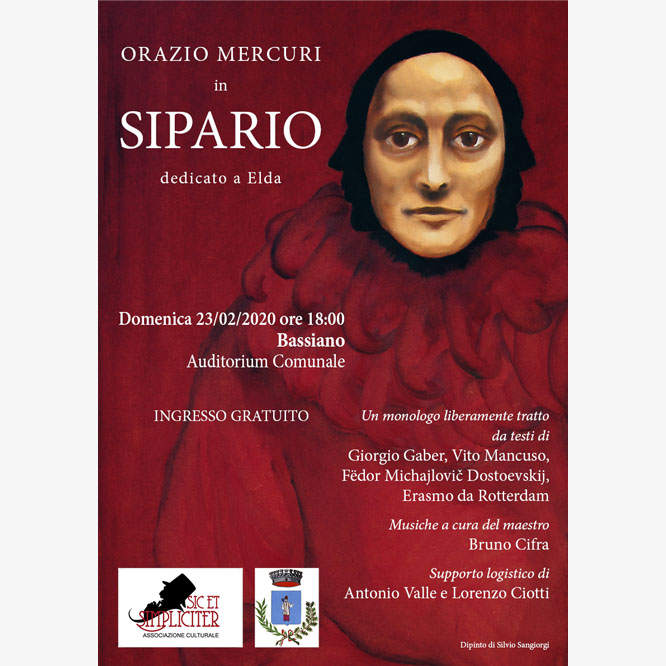 Locandina del monologo Sipario di Orazio Mercuri
