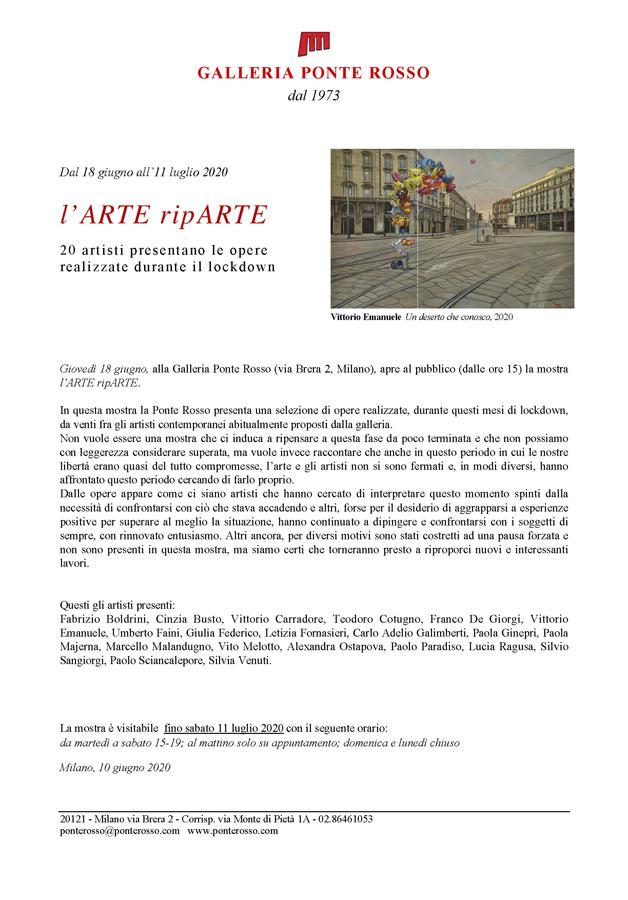 Comunicato stampa l'arte riparte Galleria Ponte Rosso